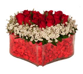 Ankara Dikmen İlker çiçek yolla , çiçek gönder , çiçekçi   Mika kalp içerisinde 9 adet kirmizi gül tanzimi