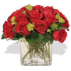 Dikmen Ankara çiçek gönder uluslararası çiçek gönderme  10 adet kirmizi gül ve cam yada mika vazo