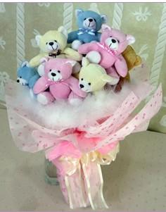 11 adet rengarenk pelus ayicik demeti ankara çiçekçi Dikmen ucuz çiçek gönder