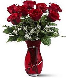 Vazo içinde 8 adet kirmizilar içinde güller Aşağı Dikmen ankara çiçekçi telefonları yurtiçi ve yurtdışı çiçek siparişi