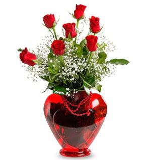 Kalp cam içinde 7 adet kırmızı gül Dikmen ankara çiçek mağazası , çiçekçi adresleri