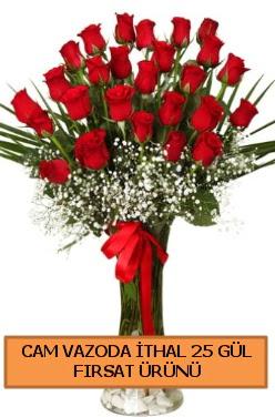 Cam vazoda ithal 1. kalite 25 gül Ankara Dikmen kaliteli taze ve ucuz çiçekler