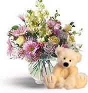 Dikmen Harbiye ankara İnternetten çiçek siparişi  cam yada mika vazoda çiçekler ve oyuncak