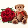 Ankara Dikmen İlker çiçek yolla , çiçek gönder , çiçekçi   5 gül ve orta boy ayicik