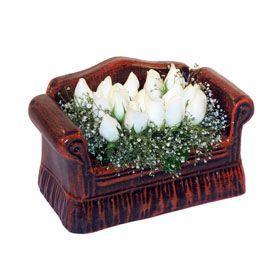 seramik içerisinde 11 gül Dikmen Keklikpınarı çiçek online çiçek siparişi