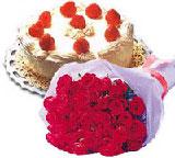 yaspasta ve 10 adet gül Ankara Dikmen kaliteli taze ve ucuz çiçekler