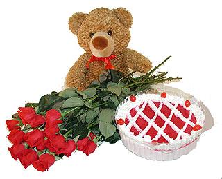çiçekçi Dikmen çiçek servisi , çiçekçi adresleri  12 adet kirmizi gül ayicik ve yaspasta