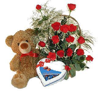 çiçekçi Dikmen çiçek servisi , çiçekçi adresleri  12 adet kirmizi gül bir kutu çikolata ve ayicik