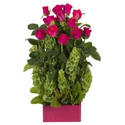 12 adet kirmizi gül aranjmani Ankara Dikmen Mürseluluç hediye çiçek yolla