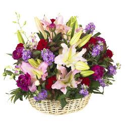 sepet içerisinde mevsim çiçeklerinden aranjman Dikmen Metin Akkuş çiçek satışı , çiçekçi , çiçekçilik
