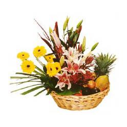 Karisik meyva sepeti ve çiçekler Dikmen Harbiye ankara İnternetten çiçek siparişi