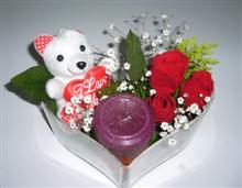 Dikmen Harbiye ankara İnternetten çiçek siparişi  kalp içerisinde 3 gül seni seviyorum yazili pelus