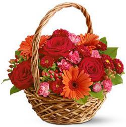 Karisik mevsim çiçeklerinden sepet tanzim Ankara Dikmen kaliteli taze ve ucuz çiçekler