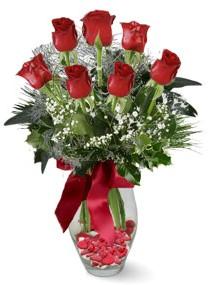 7 adet vazoda gül Ankara Dikmen kaliteli taze ve ucuz çiçekler  kirmizi gül