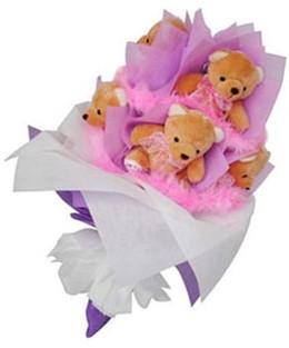 9 adet ayiciktan buket çiçekçi ankara Dikmen çiçek satışı