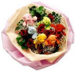 6 adet renkli ayicik ve 6adet  gül buketi Dikmen Ankara çiçek gönder uluslararası çiçek gönderme