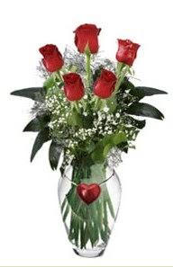 Aşağı Dikmen ankara çiçekçi telefonları yurtiçi ve yurtdışı çiçek siparişi  5 adet kirmizi gül ve kalp çubuklu