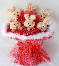 6 adet tavsandan tüller ile buket Ankara çiçek satışı Dikmen online çiçekçi , çiçek siparişi