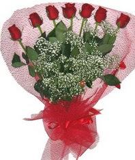 7 adet kipkirmizi gülden görsel buket Ankara Dikmen Mürseluluç hediye çiçek yolla