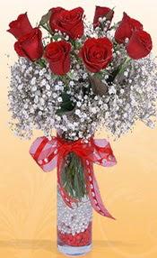 9 adet kirmizi gül cam yada mika vazoda Ankara Dikmen Mürseluluç hediye çiçek yolla