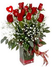 Ankara çiçek satışı Dikmen online çiçekçi , çiçek siparişi  9 adet mika yada cam vazoda gül tanzimi kalp çubuk