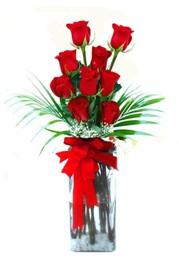 Dikmen Ankara çiçek gönder uluslararası çiçek gönderme  9 adet mika yada cam vazoda gül tanzimi