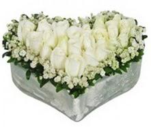Dikmen Naciçakır çiçekçi mağazası  9 adet beyaz gül mika kalp içerisindedir