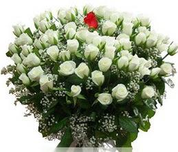 Ankara Dikmen kaliteli taze ve ucuz çiçekler  100 adet beyaz 1 adet kirmizi gül buketi