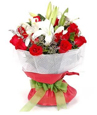 Dikmen Keklikpınarı çiçek online çiçek siparişi  1 dal kazablanka 11 adet kırmızı gül buketi