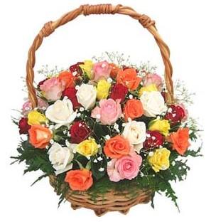 Aşağı Dikmen ankara çiçekçi telefonları yurtiçi ve yurtdışı çiçek siparişi  29 adet rengarenk gül sepeti tanzimi