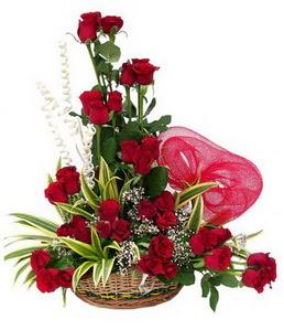 Dikmen ankara çiçek siparişi çiçek gönderme  25 adet kırmızı gül sepeti çiçeği
