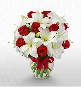 Dikmen Keklikpınarı çiçek online çiçek siparişi  1 dal kazablanka 11 adet kırmızı gül vazosu