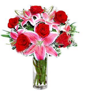 Dikmen cicek , cicekci  1 dal cazablanca ve 6 kırmızı gül çiçeği