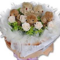 Dikmen Ankara çiçek gönder uluslararası çiçek gönderme  5 adet ayıcık ve 5 adet yapay gül buketi