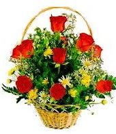 9 adet gül ve sepette kır çiçekleri Ankara Dikmen kaliteli taze ve ucuz çiçekler