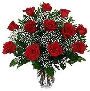 çiçekçi Dikmen çiçek servisi , çiçekçi adresleri  12 adet kırmızı gülden vazo tanzimi