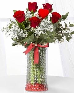 5 adet kırmızı gül kalp çubuk cam vazoda Ankara Dikmen Osmantemiz online çiçek gönderme sipariş