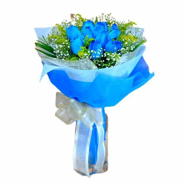 7 adet mavi gül buketi Öveçler Dikmen anneler günü çiçek yolla