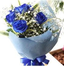 5 adet mavi gülden buket çiçeği Ankara Dikmen 14 şubat sevgililer günü çiçek