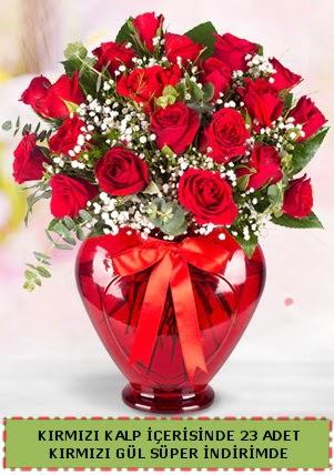 Kırmızı kalp içerisinde 23 adet kırmızı gül Ankara Dikmen 14 şubat sevgililer günü çiçek