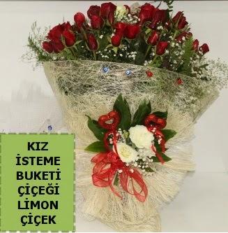 27 adet kırmızı gülden kız isteme buketi Ankara Dikmen 14 şubat sevgililer günü çiçek