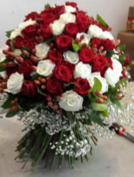 101 adet kırmızı ve beyaz gül kız isteme çiçeği