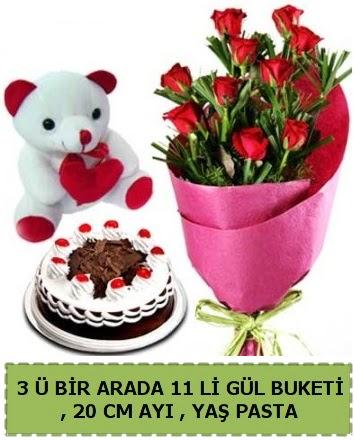 Yaşpasta ayıcık ve gül buketi herşey içinde Ankara Dikmen Osmantemiz online çiçek gönderme sipariş