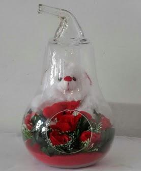 Orta boy cam armut Ayıcık ve yapay güller Dikmen Ankara çiçek gönder uluslararası çiçek gönderme