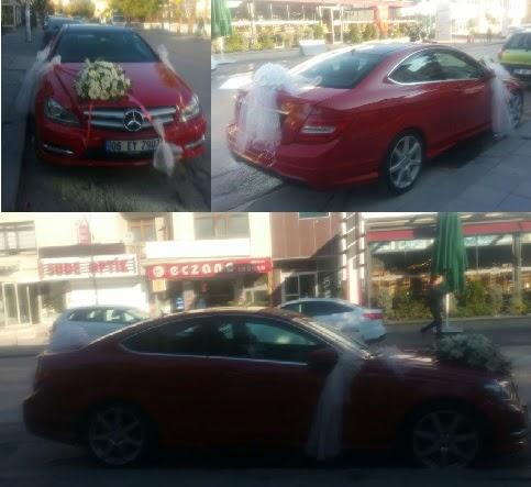Gelin arabası süslemesi Düğün araba süs Dikmen Ankara çiçek gönder uluslararası çiçek gönderme