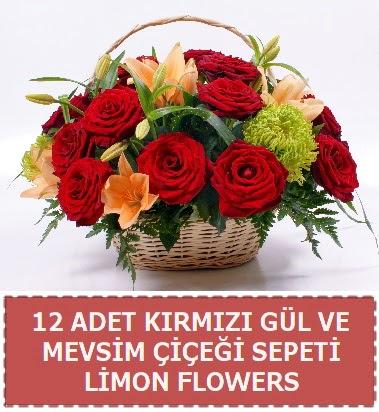 12 gül ve mevsim çiçekleri sepeti Dikmen Keklikpınarı çiçek online çiçek siparişi