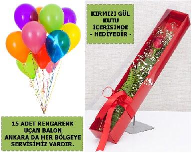 15 Adet uçan balon ve kutuda kırmızı gül Öveçler Dikmen anneler günü çiçek yolla