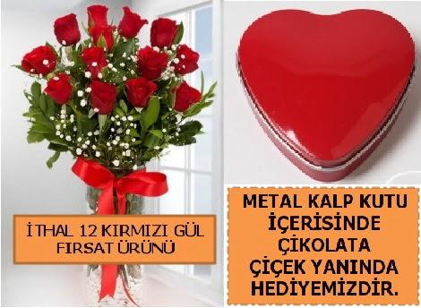 12 adet kırmızı gül ve kalp kutuda çikolata Dikmen Ankara çiçek gönder uluslararası çiçek gönderme
