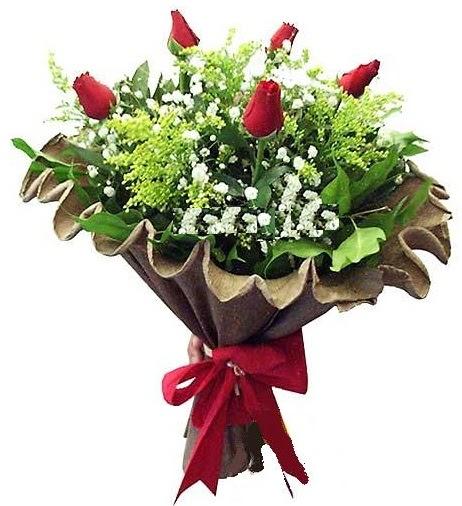 5 adet gülden buket Ankara Dikmen Osmantemiz online çiçek gönderme sipariş