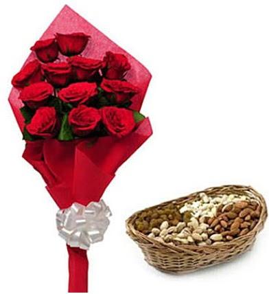 11 adet kırmızı gül ve sepette kuruyemiş Ankara Dikmen kaliteli taze ve ucuz çiçekler